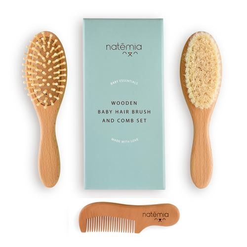 chibello 4 piece wooden baby hair brush and comb set