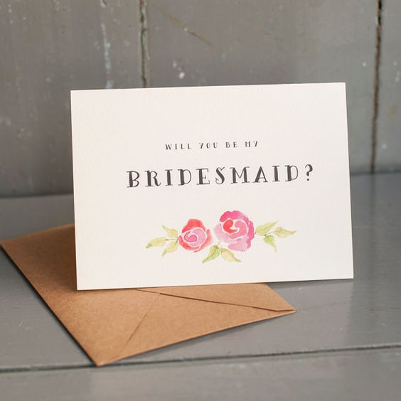 Will You Be My Bridesmaid Watercolor flowers by starboardpress