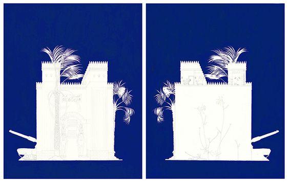 Delphinium, Flights of Fancy, Ardent Attachment by Rebbecca Whipple: Iraq, blue, castle