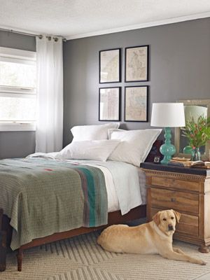 a 1940s suburban update | bedrooms, gray and gray walls