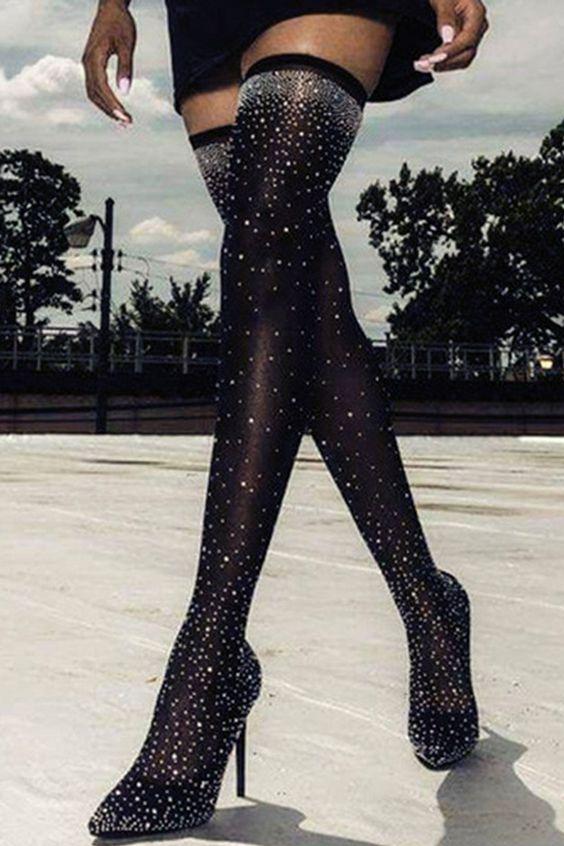 😜😜Black Rhinestone Thigh High Boots