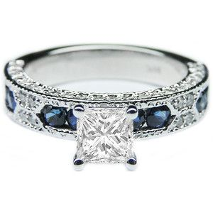 Vintage style Sapphire and diamond engagement ring.