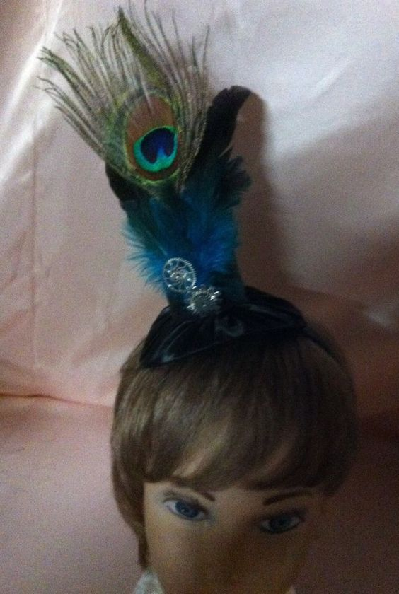 Lovely New  STEAMPUNK Fascinator Blue/Black Satin with feathers on a  Headband  #HandCraftedfelt