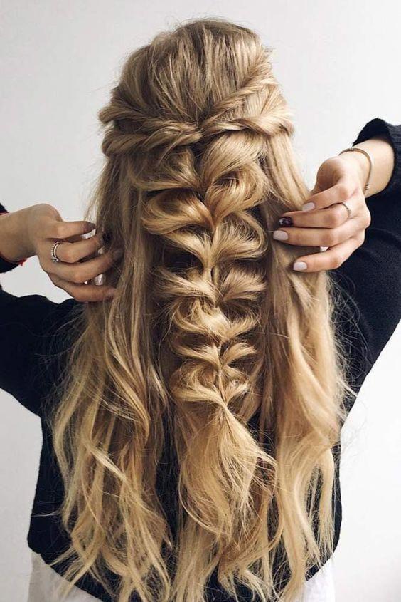15 Prom Hair Ideas To Get You Super Pretty Loose Half Up Fishtail Braid Prom Wedding Hair Weddin Fish Tail Braid Long Hair Styles Braided Hairstyles Easy