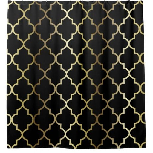 Black And Gold Quatrefoil Pattern DIY Color Shower Curtain Guest Bathroom