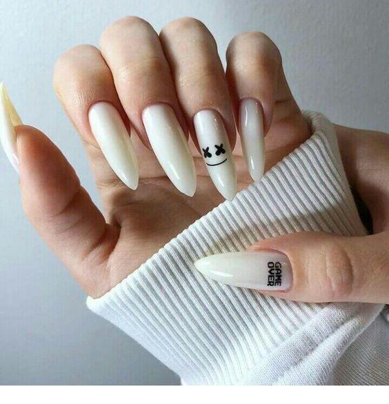 Long White Nails Chicladies Uk In 2020 Grunge Nails Edgy Nails Cute Acrylic Nails