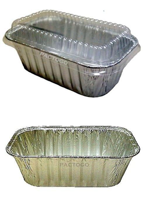 1 Lb Aluminum Foil Small Mini Loaf Bread Pan W Clear Dome Lid 6