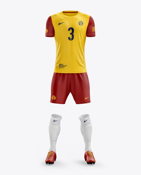 Download Men S Full Soccer Kit With Crew Neck Jersey Mockup Front View In Apparel Mockups On Yellow Images Object Mockups Clothing Mockup Shirt Mockup Soccer Kits