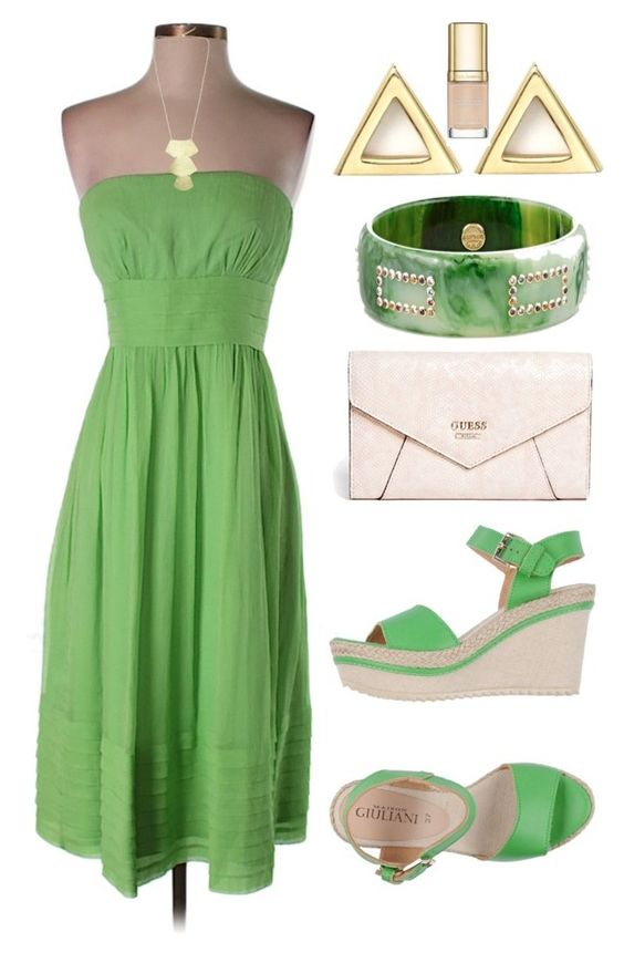 """""""Green Contest"""" by tlb0318 ❤ liked on Polyvore featuring J.Crew, GUESS, Mark Davis, Mateo and Dolce&Gabbana"""