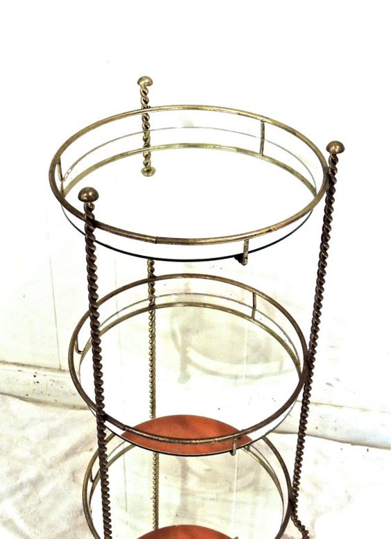 vintage brass shelf table - 1950s-60s mid century hollywood regency brass mirrored end table shelf