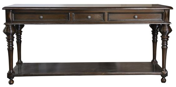 Large Colonial Sofa Table, Distressed Brown