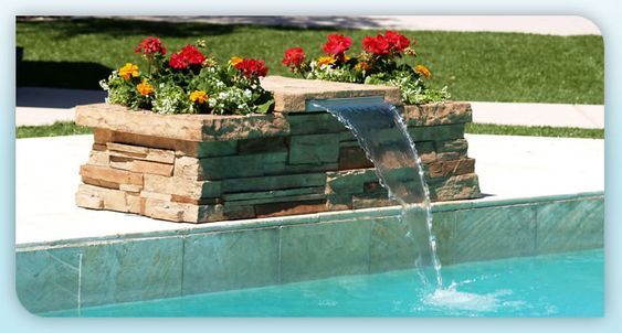 This Is Fun For Just About Any Pool Because It S Just A Small Bench And Planter That Spouts Water Pool Waterfall Landscaping Pool Waterfall Pool Waterfall Diy