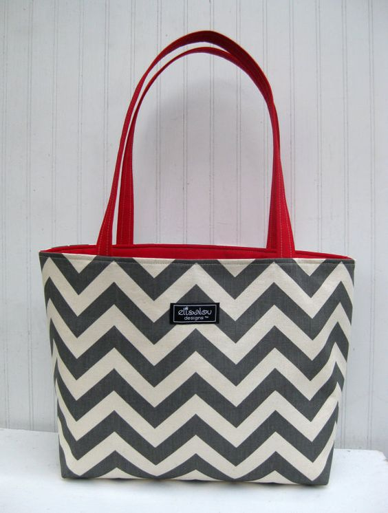 Chevron Boxy Tote Bag with Red Twill by ElisaLou on Etsy, $70.00