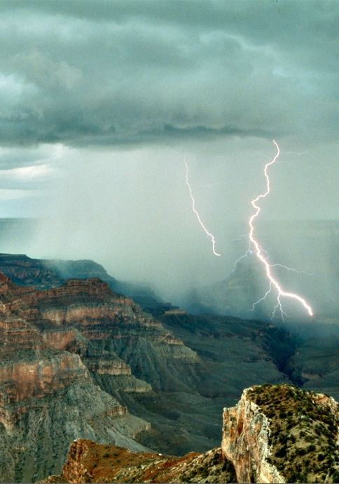 "Thunderstorm over the Grand Canyon.  ""I feel the thunder in the sky, I see  the sky about to rain, and I hear the prairies calling out Your name."""