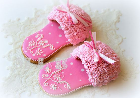 """Slipper Cookies in 3-D by Nadia of """"My Little Bakery"""" {fluffy effect was achieved with a #233 tip}"""