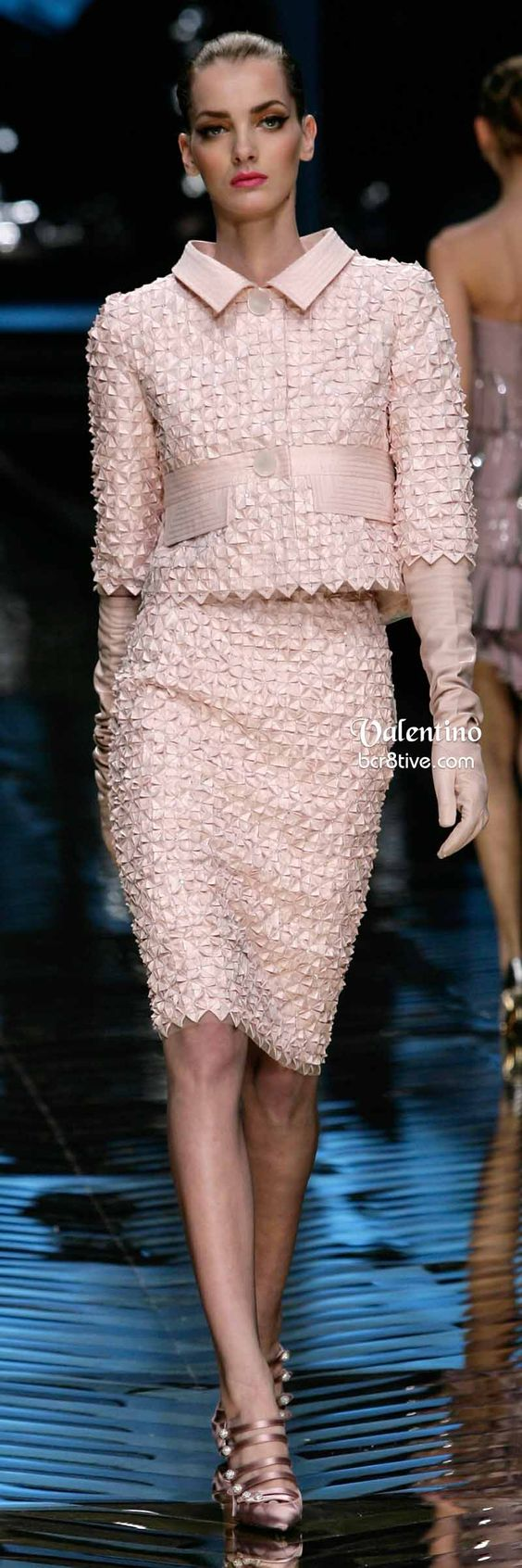 Valentino Short Pink Cropped Jacket and Pencil Skirt *** The fabric looks like it has been folded and manipulated like origami.