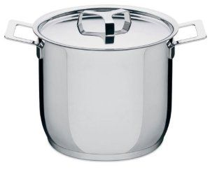 "Alessi Stockpot with Lid By Jasper Morrison by Alessi. $195.00. Stockpot with lid in 18/10 stainless steel, mirror polished with lid; Approximate size: h.8"" x d.9.5""; Capacity: 9 qt 10 oz. Stockpot with lid in 18/10 stainless steel, mirror polished, with radiating bottom in thick aluminium covered in stainless steel. Suitable for cooking with induction, gas, electric hob, ceramic glass hotplate and in the oven. Dishwasher safe. The third series of Alessi pots had..."
