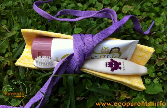 Eco party favour idea. Organic toothpaste, compostable toothbrush, cloth napkin and shoe laces.