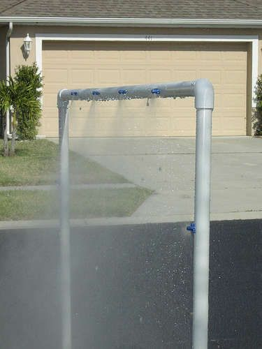 KidWash 2 : PVC Sprinkler Water Toy - 2 ten foot lengths of PVC, 3 end caps, 1 threaded female hose connector (slip fit), 2 elbow joints (90 degree), 2 T connections, 1 pack quarter circle mister jets (12 count)