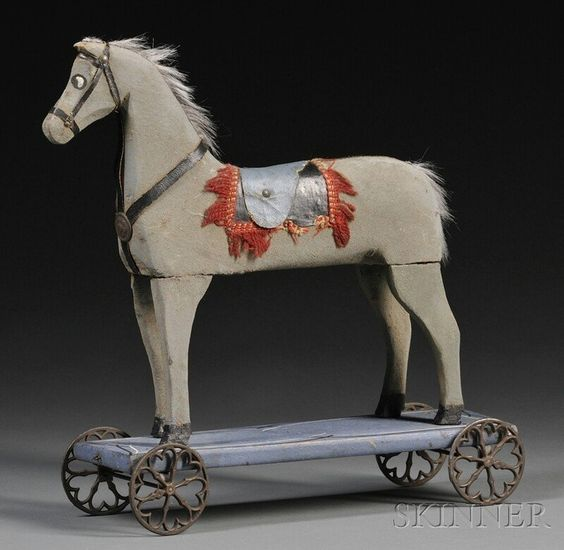 Folk Carved and Painted Wooden Horse Pull-toy, America, late 19th/early