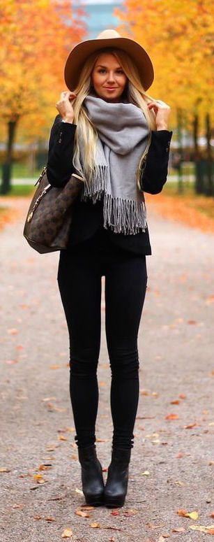 Black pants, gray scarf and floppy hat make for a perfect fall outfit!: