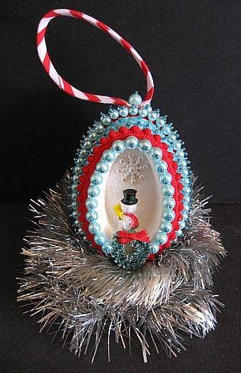 beaded snowman egg ornament