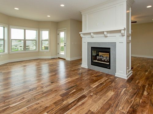 Living Room See-through Fireplace. Love love love the floor!