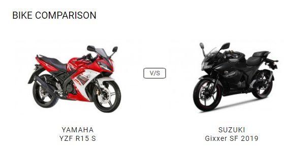 Compare Yamaha Yzf R15 S Vs Suzuki Gixxer Sf 2019 Vs Price