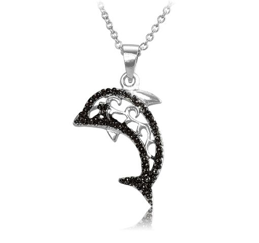 8/27/2012 Visit the Zoo Collection  $7.99  + FREE SHIPPING Black Diamond Accent Silver-Plated Dolphin Pendant