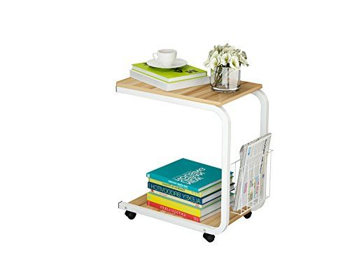 U-Shaped Side Table Portable Snack Cart Tray computer Standing Desk with Wheels