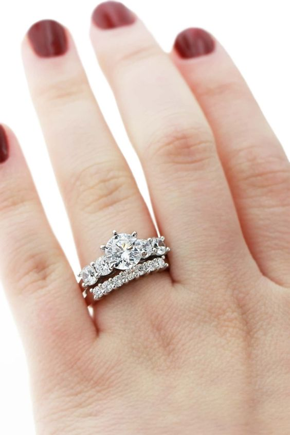 Mix and match set - Christine Engagement Ring with Bianca Diamond Band.