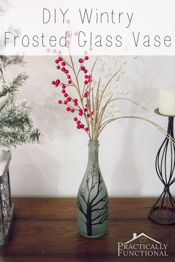 Make your own DIY Wintry Frosted Glass Vase with sea glass paint and Painters paint markers.