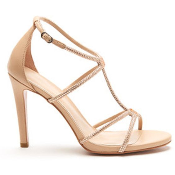 Lola Cruz Sparkle Heeled Sandal - Nude ($285) ❤ liked on Polyvore featuring shoes, sandals, nude, evening sandals, strap sandals, leather sandals, strappy heel sandals and sparkly sandals