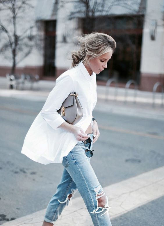 Distressed jeans.  White shirt