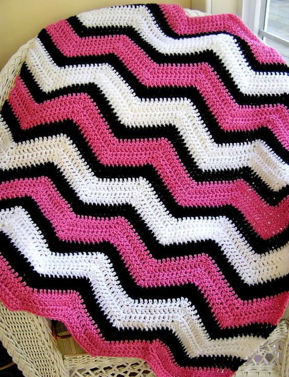 Chevron Zig Zag Knitting Pattern : New chevron zig zag baby blanket crochet knit wrap afghan