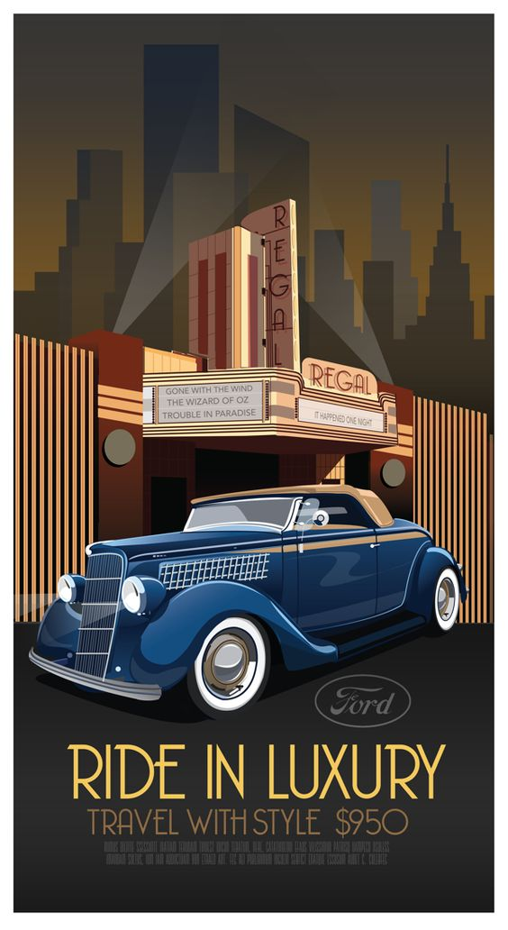 Art Deco Car Poster by Derek Walker, via Behance (Art Deco or deco, is an eclectic artistic and design style that began in Paris in the 1920s and flourished internationally throughout the 1930s and into the World War II era.The style influenced all areas of design, including architecture and interior design, industrial design, fashion and jewelry, as well as the visual arts such as painting, graphic arts and film):