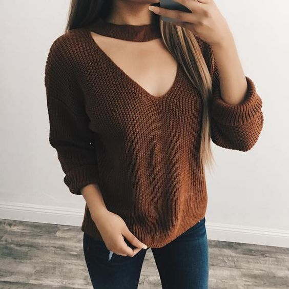 Kelly Choker Sweater (Camel) – ootdfash