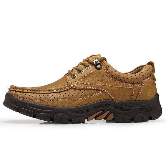 Men Breathable Cow Leather Wear Resistant Lace Up Casual Shoes Casual Shoes Leather Wear Mens Casual Shoes