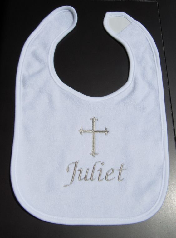 Baptism bib personalized with baby's name in your choice of color thread- Silver, as pictured, gold, white, baby pink, baby blue, any color, just ask! Bibs are white cotton terry. Message me baby's name and thread color when purchasing.  All items from a smoke free, pet free home in the USA. Ch...
