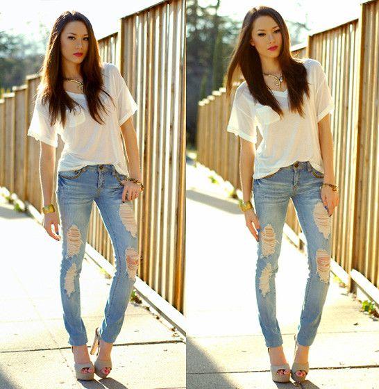 Sosume Shirt, Forever 21 Jeans, Steve Madden Heels
