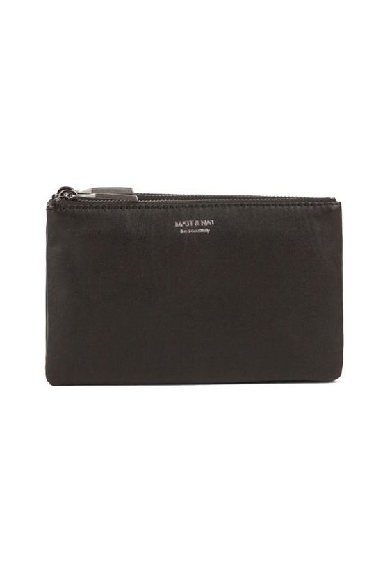 "Triplet Black Wallet. 3 separate zipped compartments. 12 credit card slots and 1 patch pocket.   Dimensions: 8"" X 5.5"" X 2"". Vegan Leather Wallet by Matt & Nat. Bags - Wallets & Wristlets Pennsylvania"