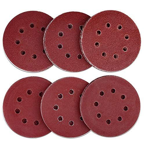 Austor 60 Pieces 8 Holes Sanding Discs 5 Inch Hook And Loop 40 60 80 120 180 240 Grit Sandpaper Assortment For Random Orbital Sander Sanding Sandpaper Wood Polish