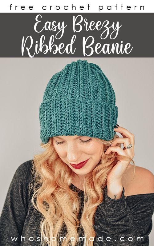Beginner Crochet Beanie Pattern Easy Breezy Ribbed Beanie Free Crochet Hat Pa Crochet Hats Free Pattern Crochet Hat For Beginners Easy Crochet Hat Patterns