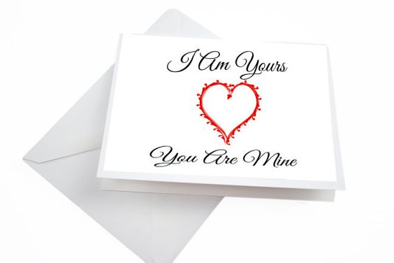 Aniversary Card Love Greeting Card Red Heart I Am by HausofAriella, $3.00