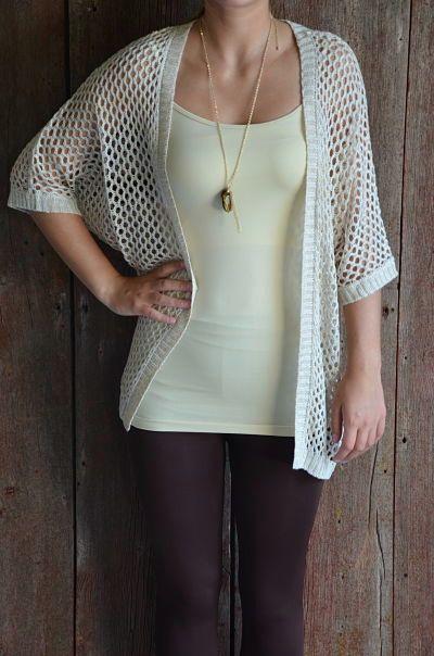 White Open Weave Kimono Sweater @baciofashions