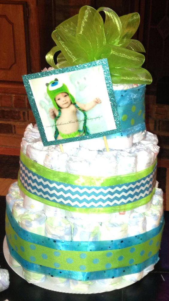 Baby Shower Status ~ Baby shower diaper cake blue green mommy status