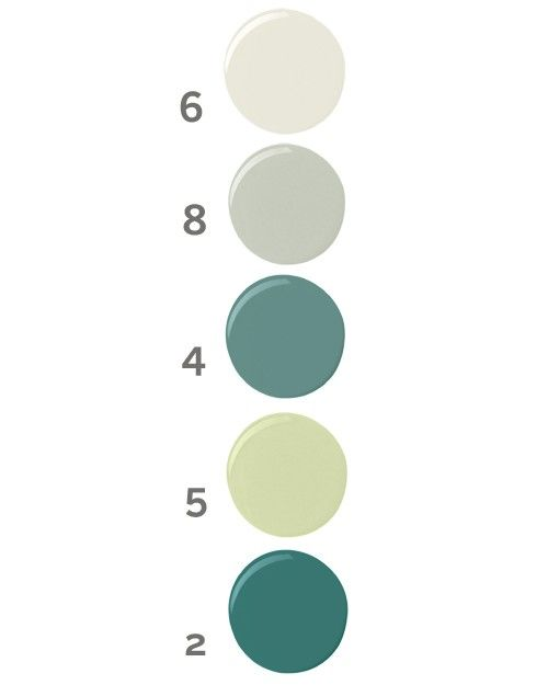 On the walls: A sweet, slightly cool white (6) that suggests fluffy snow or fresh whipped cream.  On the window mullions: A stony or steely gray (8) that adds an extra dimension to woodwork and a layer of depth to a room.  On the valance: Regal yet earthy, this strong, mossy, grayish blue-green (4) is a good partner for Dragonfly (see 2, below).  On the valance border and picture frame: One of our favorite superneutrals: The pale Granny Smith green (5) makes a sharp highlight for trim.  On…