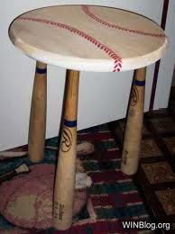 A baseball themed end table! Perfect to set a refreshing beverage on while watching a Syracuse Chiefs away game!
