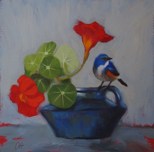 Looks the Other Way, a floral still life painting with bird by Diane Hoeptner