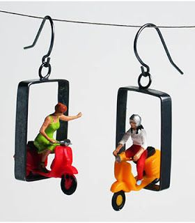Figurative Art Jewelry - Figurative Artist. KRISTIN LORA SCOOTER EARRINGS IN PLASTIC AND STERLING SILVER. APPROX 1 1/2″ TALL.